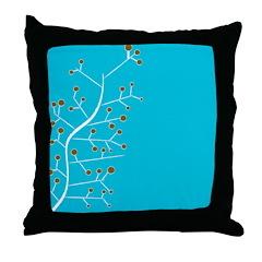 Contemporary Retro Floral Throw Pillow