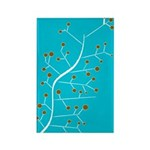 Contemporary Retro Floral Rectangle Magnet (100 pa