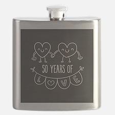 50th Anniversary Gift Chalkboard Hearts Flask