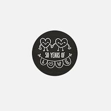 50th Anniversary Gift Chalkboard Heart Mini Button