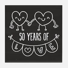 50th Anniversary Gift Chalkboard Hear Tile Coaster