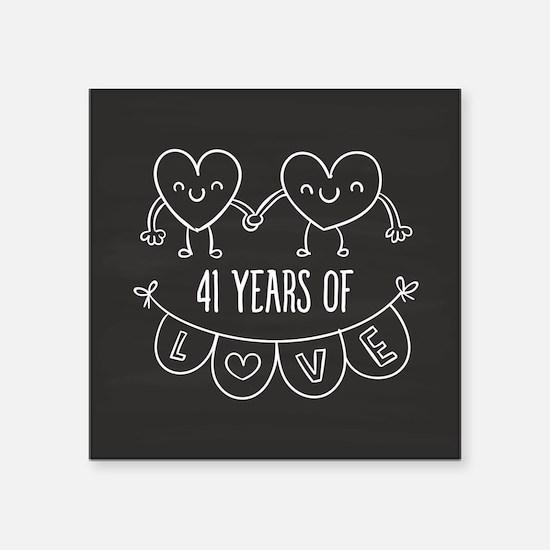 """41st Anniversary Gift Chalk Square Sticker 3"""" x 3"""""""
