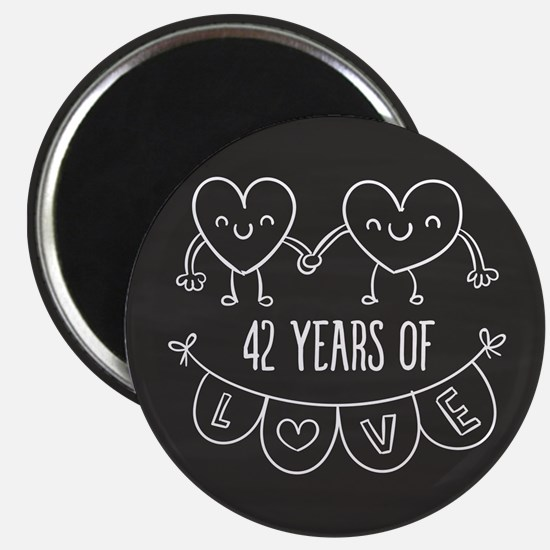 42nd Anniversary Gift Chalkboard Hearts Magnet