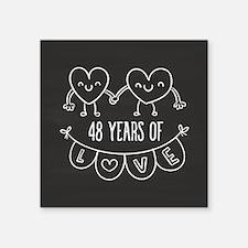 "48th Anniversary Gift Chalk Square Sticker 3"" x 3"""