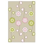Pink & Green Retro Floral Large Poster