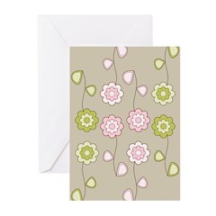 Pink & Green Retro Floral Greeting Cards (Pk of 20