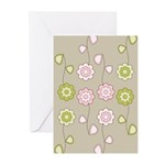 Pink & Green Retro Floral Greeting Cards (Pk of 10