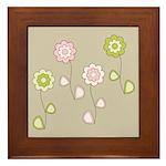 Pink & Green Retro Floral Framed Tile