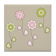 Pink & Green Retro Floral Tile Drink Coaster