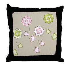 Pink & Green Retro Floral Throw Pillow