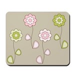 Pink & Green Retro Floral Mousepad