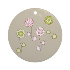 Pink & Green Retro Floral Ornament (Round)
