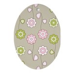 Pink & Green Retro Floral Oval Ornament