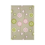 Pink & Green Retro Floral Rectangle Magnet (100 pa