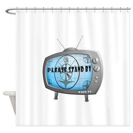 please stand by tv shower curtain by wheedesign2