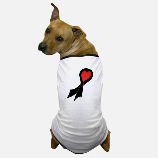 Black Ribbon with Heart Dog T-Shirt