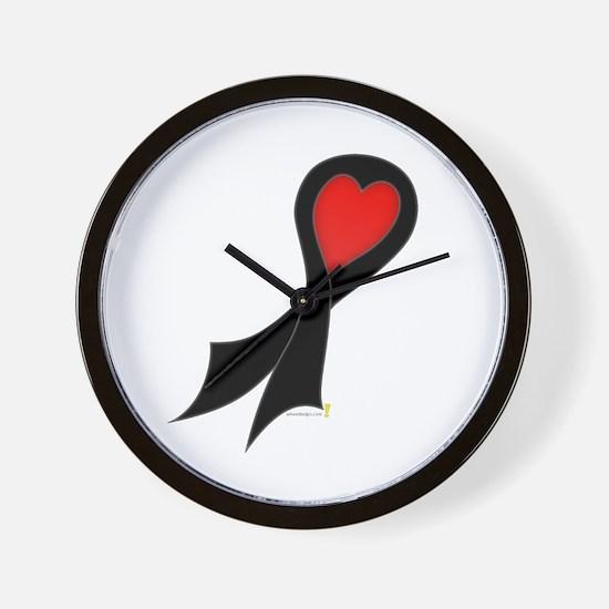 Black Ribbon with Heart Wall Clock