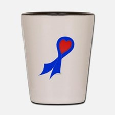 Blue Ribbon with Heart Shot Glass