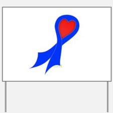 Blue Ribbon with Heart Yard Sign