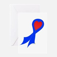 Blue Ribbon with Heart Greeting Card