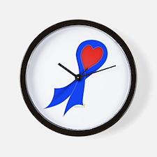 Blue Ribbon with Heart Wall Clock