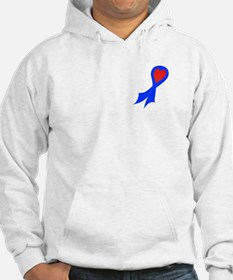 Blue Ribbon with Heart Hoodie