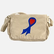 Blue Ribbon with Heart Canvas Messenger Bag