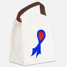 Blue Ribbon with Heart Canvas Lunch Bag