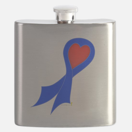 Blue Ribbon with Heart Flask