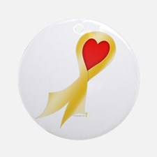 Gold Ribbon with Heart Round Ornament
