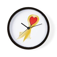 Gold Ribbon with Heart Wall Clock