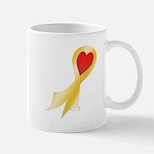 Gold Ribbon with Heart Mug