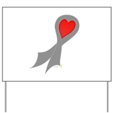 Gray Ribbon with Heart Yard Sign