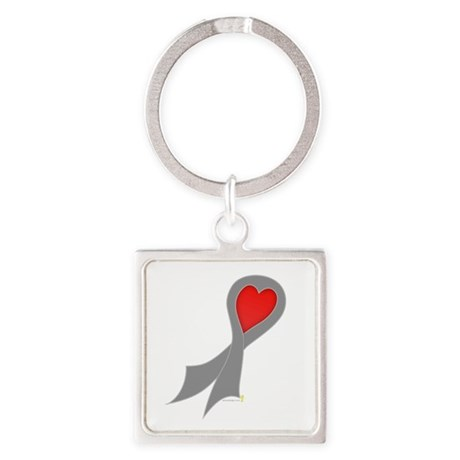 Gray Ribbon with Heart Square Keychain