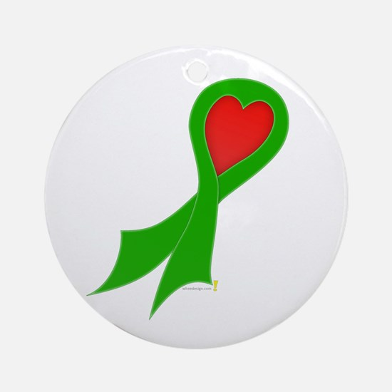 Green Ribbon with Heart Round Ornament