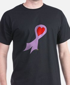 Lavender Ribbon with Heart T-Shirt