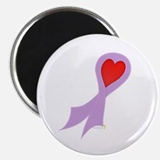 Lavender Ribbon with Heart Magnet