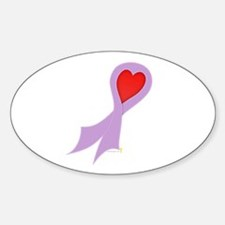 Lavender Ribbon with Heart Oval Decal