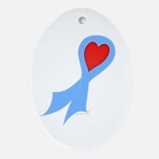 Light Blue Ribbon with Heart Oval Ornament
