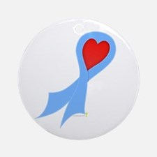 Light Blue Ribbon with Heart Round Ornament