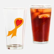 Orange Ribbon with Heart Pint Glass