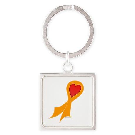 Orange Ribbon with Heart Square Keychain