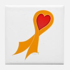 Orange Ribbon with Heart Tile Coaster