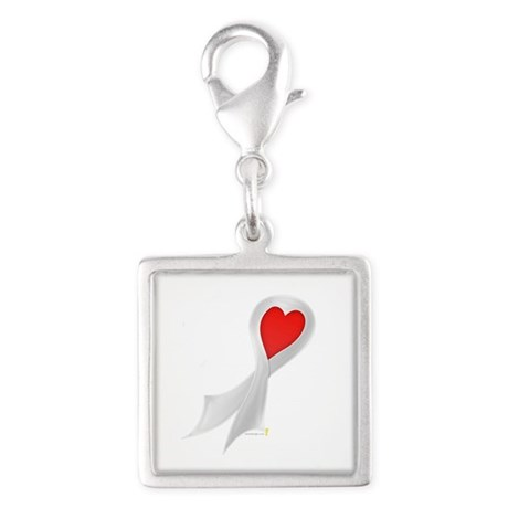 Pearl Ribbon with Heart Silver Square Charm