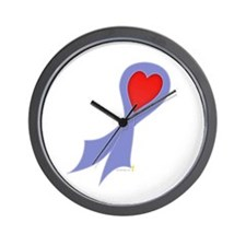 Periwinkle Ribbon with Heart Wall Clock