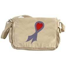 Periwinkle Ribbon with Heart Canvas Messenger Bag