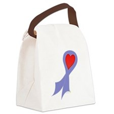 Periwinkle Ribbon with Heart Canvas Lunch Bag