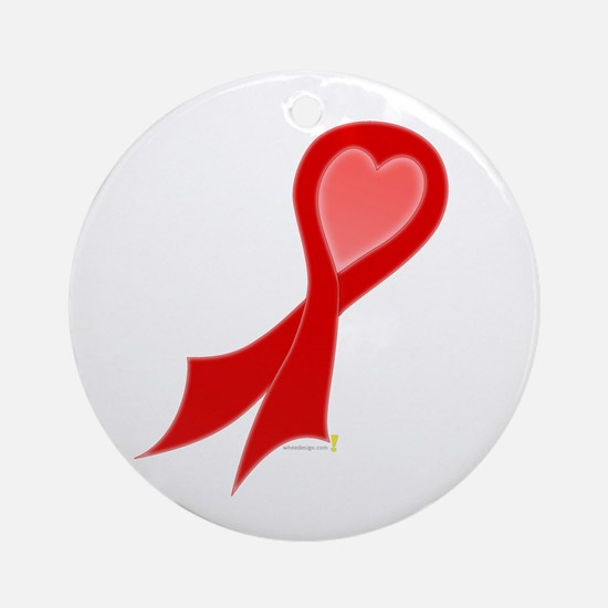 Red Ribbon with Heart Round Ornament