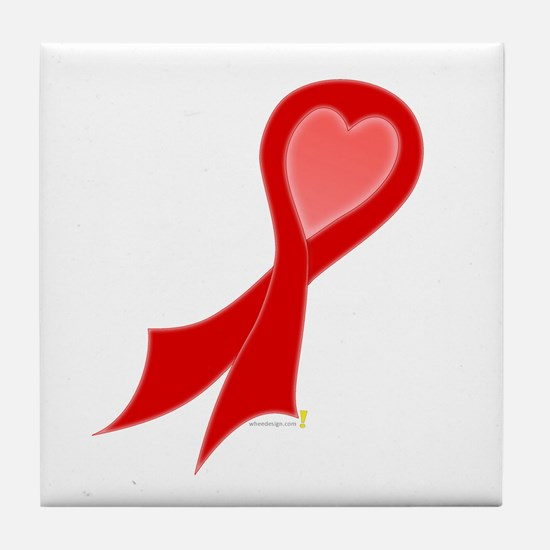 Red Ribbon with Heart Tile Coaster