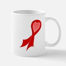 Red Ribbon with Heart Mug